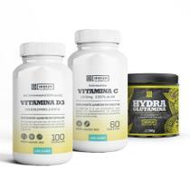 Kit Vitamina C + Hydra Glutamina 150g + Vitamina D cor: Natural - Iridium Labs