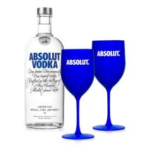 Kit Vodka Absolut Original 1L + 2 Taças -