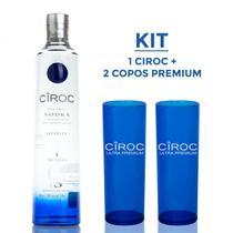 Kit Vodka Ciroc Tradicional 750ml + 2 Copos - Premium -