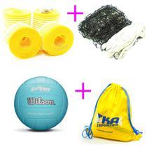 Kit voleibol 4 x 1 Bola Marcador Quadra Rede 4faixas - Wilson -