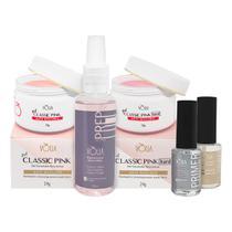Kit Volia Gel Classic Pink Preparadores P1P2 Spray Pink Hard - Vòlia