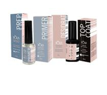 Kit volia prep primer desidrat e top coat para unhas gel -