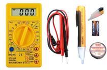 Kit Voltagem Multímetro Digital Voltímetro Profissional  caneta detectora de voltagem  + Fita - Exbom