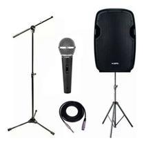 Kit Voz e Violao Caixa Ativa K815 Ksr Pro + Tripé Ksr + Pedestal Psu0142 + Microfone ks58 -