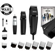 Kit Wahl Total Black Máquina de Cortar Cabelo, Trimmer Acabamento e Aparador de Pelos + Necessaire -
