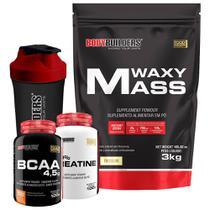 Kit Waxy Mass 3kg Baunilha + BCAA 4,5 100g + 100% Creatine 100g + Coqueteleira  Bodybuilders -