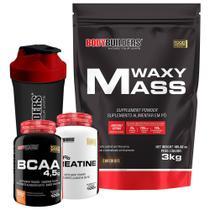 Kit Waxy Mass 3kg Chocolate + BCAA 4,5 100g + 100% Creatine 100g + Coqueteleira  Bodybuilders -