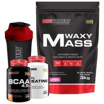 Kit Waxy Mass 3kg Morango + BCAA 4,5 100g + 100% Creatine 100g + Coqueteleira  Bodybuilders -