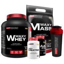 Kit Waxy whey 2kg Cho + Waxy Mass 3kg Cho + Creatina 100g + BCAA 100g + Coqueteleira - Bodybuilders -