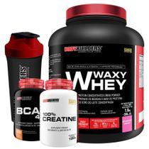 Kit Waxy Whey 2kg Morango + BCAA 1800 120 Cápsulas + 100% Creatine 100g + Coqueteleira  Bodybuilders -