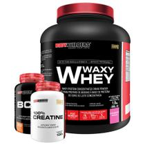 Kit Waxy Whey 2kg Morango + BCAA 4,5 100g + 100% Creatine 100g  Bodybuilders -