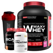 Kit Waxy Whey 2kg Morango + BCAA 4,5 100g + 100% Creatine 100g + Coqueteleira  Bodybuilders -