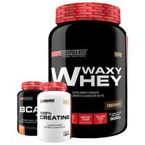 Kit Waxy Whey 900g Chocolate + BCAA 4,5 100g + 100% Creatine 100g  Bodybuilders -