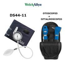 Kit Welch Allyn Otoscopio E Oftalmoscopio Pocket Plus Azul + Esfigmomanometro Durashock Ds44 -