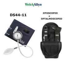 Kit Welch Allyn Otoscopio E Oftalmoscopio Pocket Plus Preto + Esfigmomanometro Durashock Ds44 -