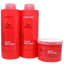 Kit Wella Invigo Color Brilliance Shampoo 1l Condicionador 1l E Máscara 500g -