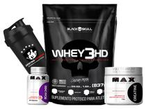 Kit Whey 3HD 837g + Creatina 150g + Bcaa 60 caps + Coque - Black skull