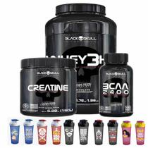 Kit Whey 3HD 900g Bcaa 100 Tabs Creatine 150g BlackSkull + Squeeze - Black skull