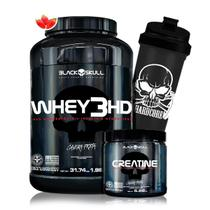 Kit Whey 3HD 900g + Creatina Caveira Preta + Coq - Black Skull