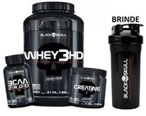 Kit Whey 3hd + Bcaa 100 + Creatina 150g + Coq - Black Skull