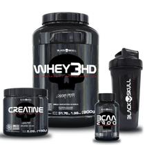 Kit whey 3hd + bcaa + creatina + shaker - Black Skull