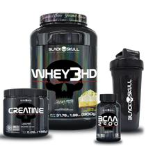 Kit whey 3hd + bcaa + creatina + shaker (torta de limão) - Black Skull