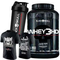 Kit Whey 3hd + Camiseta Integral Darkness + Coq Black Skull