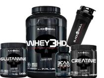 Kit Whey 3hd + Creatina + Glutamina + Bcaa - Black Skull - - Geral