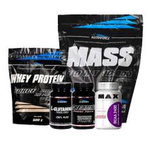 Kit Whey + Bcaa + Glutamina + Creatina + Massa - Nutraforce