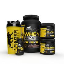 Kit Whey Concentrado 100% Pure 900gr + Hi-BCAA 2:1:1 60 cáps + Hi-Creatina 150gr + Hi-Glutamina 150gr + Coqueteleira - L - Leader Nutrition