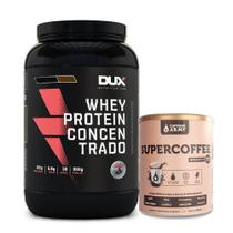 Kit Whey Concentrado Dux 900g Chocolate + Supercoffee 250g - K-fit