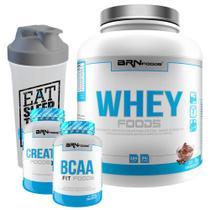 Kit Whey Foods 2kg Chocolate + Creatine Foods 100% 100g + BCAA + Coqueteleira  BRNFOODS -