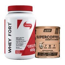 Kit Whey Fort Chocolate 900g + Supercoffee 2.0 220g - Vitafor