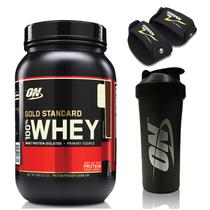 Kit Whey Gold Standard 2lbs Chocolate + Coqueteleira Preta 700ml + Par Luva EVA Torian - Optimum nutrition