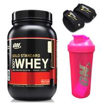 Kit Whey Gold Standard 2lbs Chocolate + Coqueteleira Rosa 700ml + Par Luva EVA Torian - Optimum nutrition