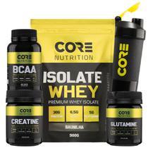 Kit Whey Isolate + BCAA + Creatina + Glutamina + Shaker - Core Nutrition