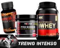 Kit whey kiphera red 120 + pro shock 250g + whey gold standard 907g (double rich chocolate) - Optimum nutrition