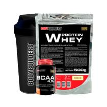 Kit Whey Protein 500g Bau + BCAA 100g+ Coqueteleira - Bodybuilders -
