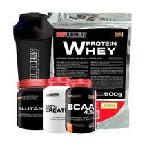 Kit Whey Protein 500g Bau + Glutamina 300g + Creatina 100g + BCAA 100g + Coqueteleira  Bodybuilders -