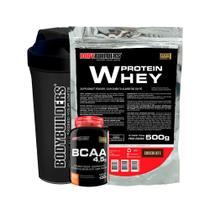 Kit Whey Protein 500g Cho + BCAA 100g+ Coqueteleira - Bodybuilders -