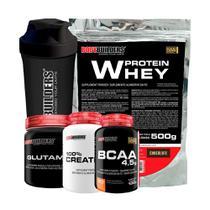 Kit Whey Protein 500g Cho + Glutamina 300g + Creatina 100g + BCAA 100g + Coqueteleira - Bodybuilders -