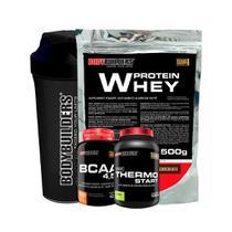 Kit Whey Protein 500g Choc + Bcaa 100g + Thermo Start + Coqueteleira -Bodybuilders -