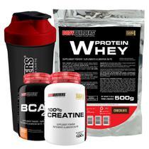 Kit Whey Protein 500g Chocolate + BCAA 4,5 100g + 100% Creatine 100g + Coqueteleira  Bodybuilders -