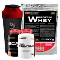 Kit Whey Protein 500g Morango + BCAA 4,5 100g + 100% Creatine 100g + Brinde: Coqueteleira  Bodybuilders -