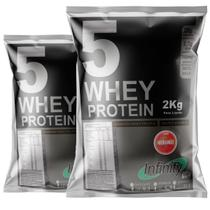 kit whey protein isolado concentrado hidrolisado 3w 4kg Infinity - Morango -