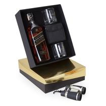 Kit Whisky Escocês Johnnie Walker Black 750ml+ Binóculo + 2 copos - Shop quality