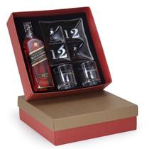 Kit Whisky Escocês Johnnie Walker Black Label 750ml + petisqueira e 2 copos - Shop quality