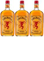 Kit Whisky Fireball com Licor de Canela 750ml 3 unidades -