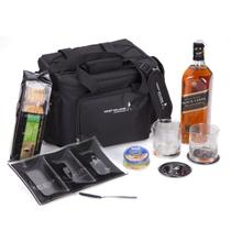 Kit Whisky Johnnie Walker Black Label 750ml + Kalassi 100gr + patê + 2 copos + 2 porta copos + petisqueira + espatula e bolsa - Shop quality