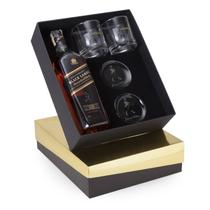 Kit Whisky Johnnie Walker Black Label litro + 2 copos e 2 porta copos - Shop quality